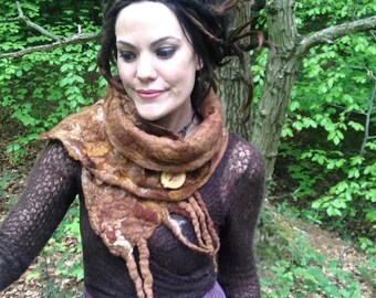 The 'Oak Root' Felted Scarf Earthy Fae Roots and Dreadlocks, Nomad, Hippy, Festival Wear, Larp Elf, Cosplay Pixie Costume