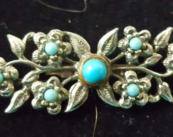 Very Pretty Vintage Silver and Turquoise Brooch Pin in Excellent Condition