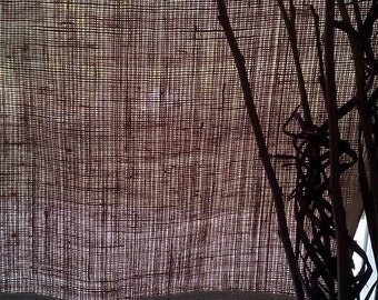 "urlap Curtain -Burlap Drape - Burlap Cafe Curtain with Off White Fringe - Burlap Valance - Burlap Kitchen Drape - Rustic Curtain 53"" x 24"""