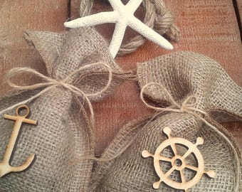 Nautical Favor Bag - Beach Wedding Favour Bag- Rustic Favor Bag - Wedding Favor - Favor Bag - Gift Bag - Beach Wedding - Set of 25