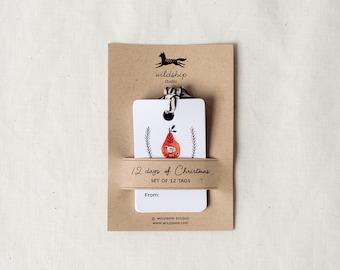 Set of 12 Gift Tags - 12 Days of Christmas