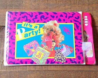 1990s Barbie Party Invites, Vintage Barbie Party Supplies, Barbie Birthday Party, Vintage Barbie