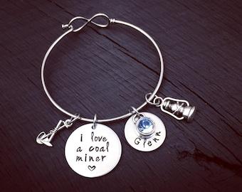 I Love A Coal Miner Bracelet | Coal Miner Jewelry | Coal Miners Wife Bracelet | Coal Miner's Girlfriend Jewelry | Coal Miner's Wife Bracelet