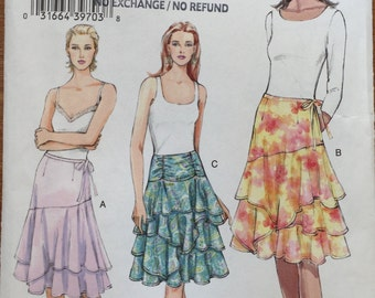 Vogue V8082 Flared Layered Skirt Pattern in sizes 6,8,10 uncut