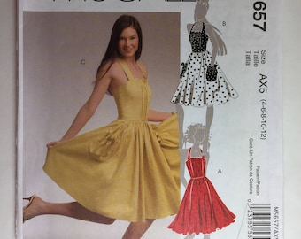 Mcall's M5657 Misses' Flared Halter Dress With Gathered Bodice Sizes 4,6,8,10,12 uncut