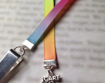 Artist painters palette bookmark with clip - Attach clip to book cover then mark the page with the ribbon. Never lose your bookmark!