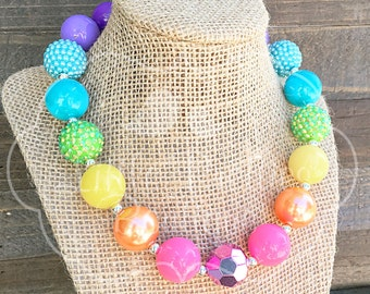 Rainbow Bubblegum Necklace, Chunky Necklace, Statement Necklace, Children's Necklace, Girl's Necklace, Chunky Bead, BN52
