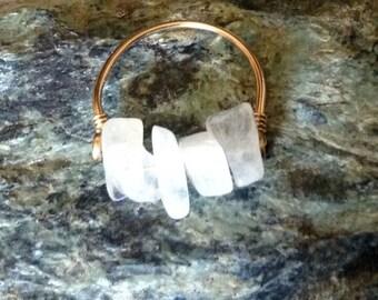 White Moonstone Ring, 14 kt Gold Filled or Sterling Silver, Gemstone Nuggets,  Handmade by LisaJStudioJeweler.