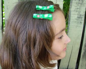 Christmas hair clips infant, Green non slip clips, Baby non-slip clips, Toddler hair clips, X-mass hair clips, Infant hair clip set