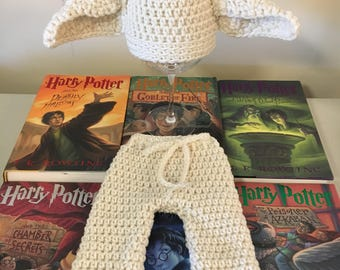 Newborn Dobby hat and pants, baby Dobby Halloween costume, baby Dobby photo prop, Harry Potter baby gifts, Dobby baby clothes, boy Dobby hat