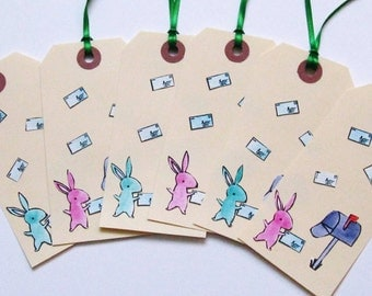 Easter basket tags etsy bunny tags easter gift tags basket tags rabbits mail letters set negle Images