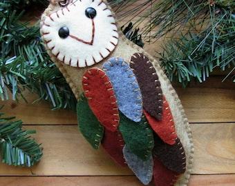 Wool Felt Barn Owl Ornament Hanger In Hay Bale