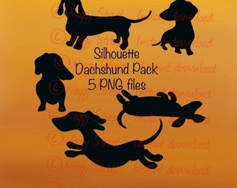 Dachshund silhouettes dog clipart instant download. Set of 5 png files on transparent backgrounds Commercial Printable dog art graphics.