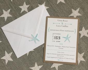 WEDDING at the SEA-Wedding Participation on cardboard double + Envelope + Sticker chiudibusta