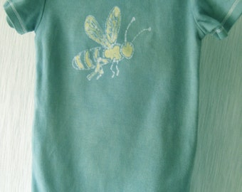 Short or long sleeve hand-dyed batik teal baby bodysuit with bee