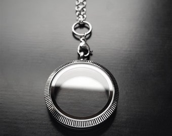 Large (30mm) Silver Stainless Steel Floating Locket-Decorative Face-Option to Add Chain-Gift Idea for Women
