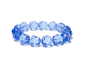 Faceted Blue Crystal Bracelet/ Blue Swarovski Crystal Bracelet/ Blue Crystal Jewelry/ Blue Swarovski Jewelry