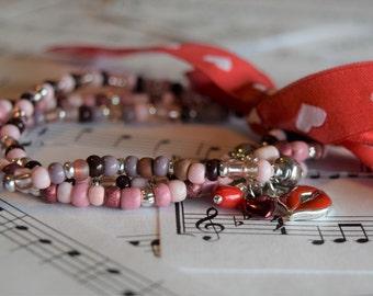 Elastic Pink Variation (3) Romantic Bracelets V06