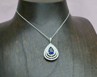 Sapphire bridal necklace, blue crystal necklace, bridal jewelry, blue bridal necklace