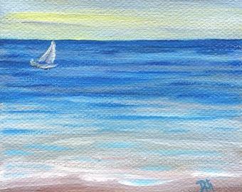"Sailing, Seascape, 4""x4"" Stretched Canvas Block, Acrylic Painting, Original Artwork"