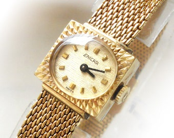 Ladies ENICAR STAR JEWELS Vintage Jewelry Watch with Mesh Bracelet