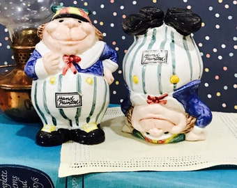 Fitz & Floyd Tweedle Dee and Tweedle Dum Salt and Pepper Shakers 1992 Alice and Wonderland