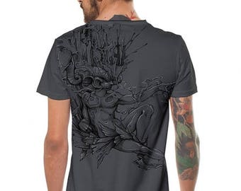 Tribal Men's T-shirt,Boho Top,Festival Men T Shirt,Funky Silk Print,Burning Man Clothing,Psychedelic Festival Clothing,Goa Psy Trance Shirt