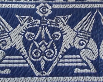 Jacquard Ribbon Trim | 1-3/8 Inch Gargoyle Pattern Woven Jacquard Ribbon | Renaissance Fair Costume Trim~Blue