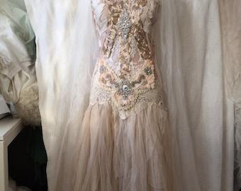Wedding dress bronze goddess,ethereal wedding dress  pale pink,elven goddess,bridal gown gold and cream, magical wedding dress,bohemian w