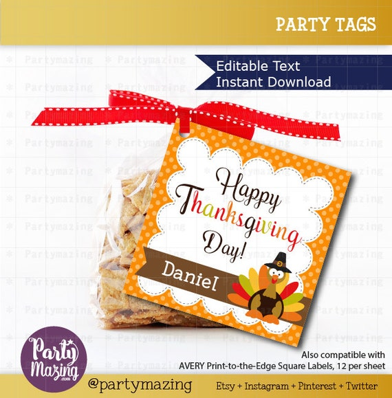 10 Last Minute Thanksgiving Crafts: I know you may not have time lately to plan your kid's little gifts or party favors for Thanksgiving but don't worry help is on the way! here you have some last minute ideas for Thanksgiving by Mariapalito www.partymazing.com ON SALE Printable Editable Thanksgiving Tags, Editable Printable Thanksgiving Tags, I Am Thankful For You Tags, Stickers, Gift Tags D781
