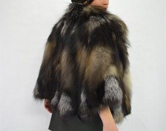 Real fur cape,new smoky fox fur jacket, genuine quality fox fur pelt,fur coat,black fox cape, black fox fur stole, fox fur shawl,bridal fur