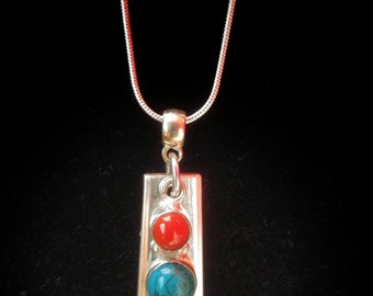 Red and turquoise turquoise pendant made from up-cycled vintage silver plate silverware. Includes silver chain, Free shipping within Canada.