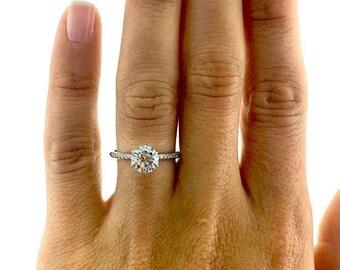 3.57  Carat Round Cut Diamond Engagement Ring 14K White Gold   #J37798  FREE SHIPPING