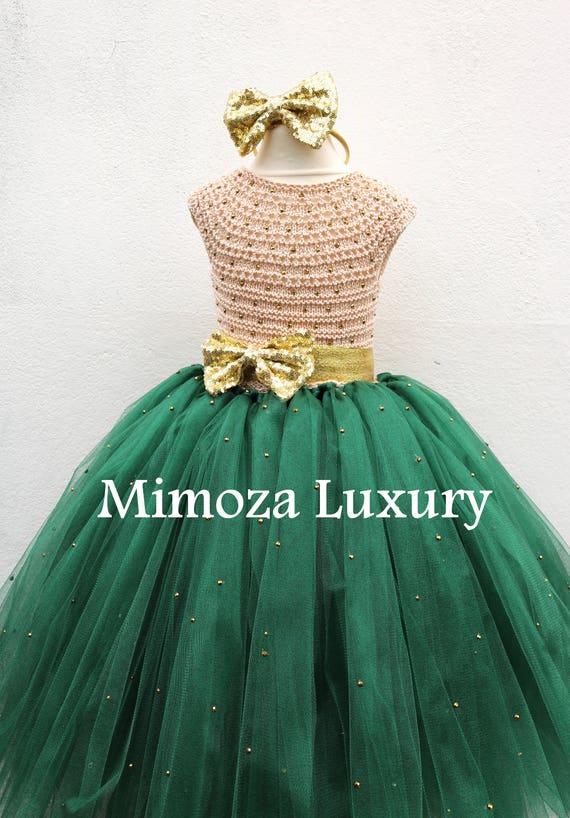Bottle Green & Gold Flower girl dress, dark green gold tutu dress, bottle green and gold bridesmaid dress, hunter green gold princess dress