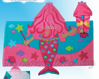 Personalized and Embroidered Stephen Joseph Mermaid Hooded Towel, kids birthday gift, beach towel, kids towel, personalized towel