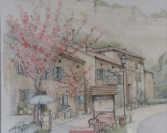 French cafe original watercolour