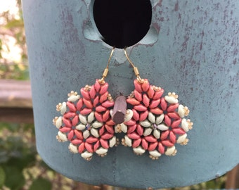 Coral and pale sage green flower earrings