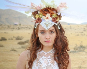Burning Man Headpiece, Shamanic HeadPiece, Flower Headdress, bridal tiara, pearl bridal crown, elven crown, forehead tiara, halo headpiece