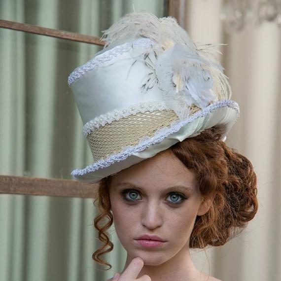 White Wedding Hat Top Hat Kentucky Derby Hat Bridal Hat Tea Party Hat White Hat  Bridal Headpiece Wedding Headpiece Steampunk Hat Mad Hatter by Inspirala 81076f12d67