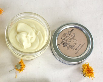 Organic Lavender Lotion Cream - Homemade Lotion - Hand and Body Lotion - Natural Lotion - 4-oz. Mason Jar