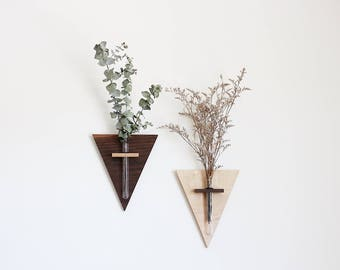 Modern Triangle Wall Planter Vase Sconce Set