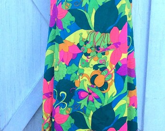Vintage Retro Estate Bright Neon Colors Royal Hawaiian Dress