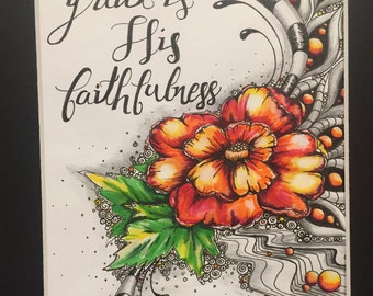 Great is His Faithfulness, Floral Zen Art