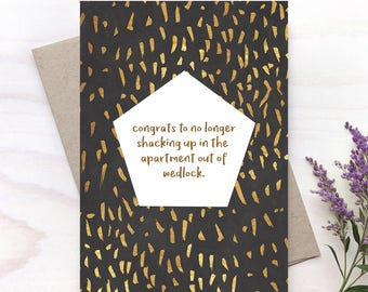 Funny Wedding Card, Newlyweds Card, New Couple Card, Mr and Mrs Card, No More Wedlock - 160C