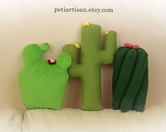 Set of 3 Cacti Pillow, Saguaro Cactus Pillow, Prickly Pear, Toy Pillow, 3D Pillow, Stuffed Animal, Beach House Decor