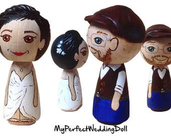 Beach Wedding/Wooden Cake Toppers/Anniversary gift/Personalised/ Peg dolls / Bride and Groom in red - 6.5 cm tall