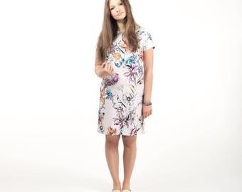 Floral silk dress , printed summer dress , shift dress , short dress , silk , flower dress