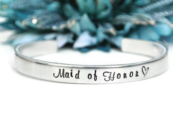 Maid Of Honor Bracelet | Maid of Honor Proposal | Hand Stamped Jewelry | Maid of Honor Jewelry | Maid Of Honor Gift Sister