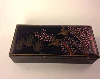 Shabby Vintage Black Lacquer Jewelry Box Japan