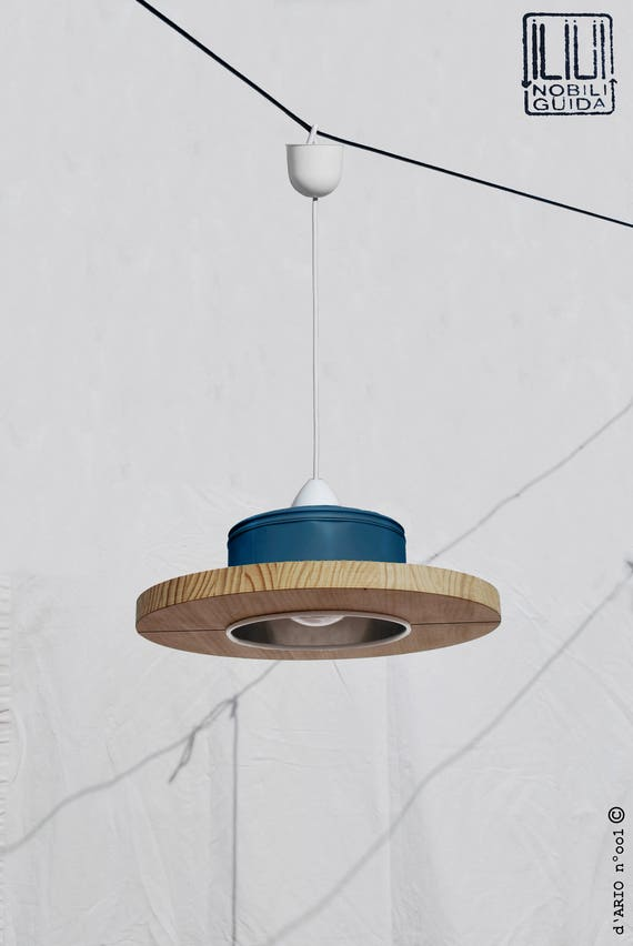 Hanging /ceiling lamp/ pendant light,petrol blue color and pine wood, ECO-friendly: recyled from big coffe can. WINNER of iLLy coffee award!